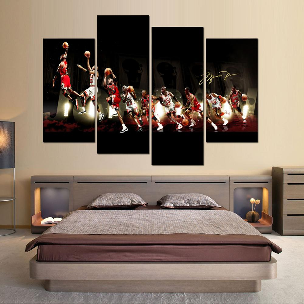 popular basketball framed art buy cheap basketball framed art lots framed art 4 pieces basketball star jordan printed painting wall art home decoration canvas paintings for