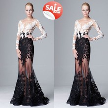Hot 2019 Sexy See Through Appliques Evening Dresses Scalloped Long Sleeve Lace Elegant A-line Party