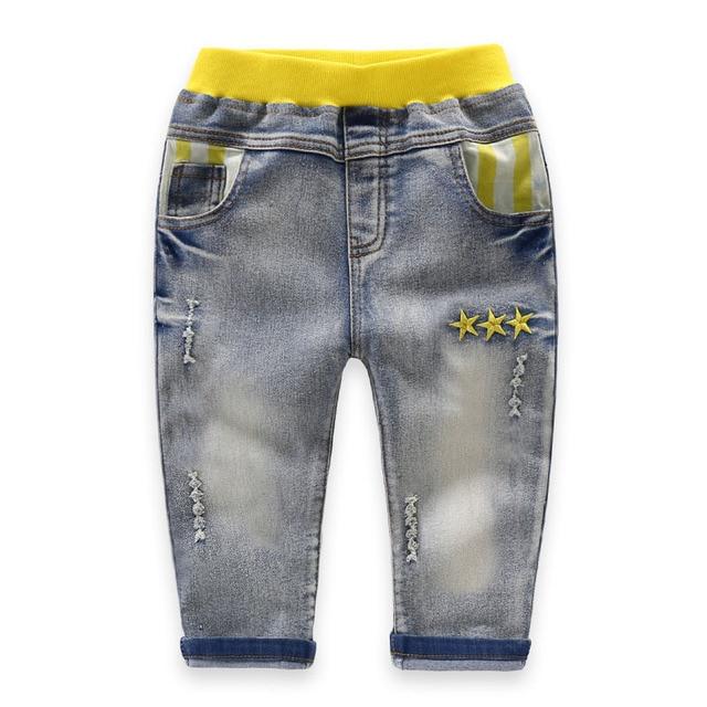 2017 Top Quality Spijkerbroek Baby Jongen 3-10T Autumn Ripped Jeans for Kids Elastic Waist Girls Jeans Soft Denim Pants Winter