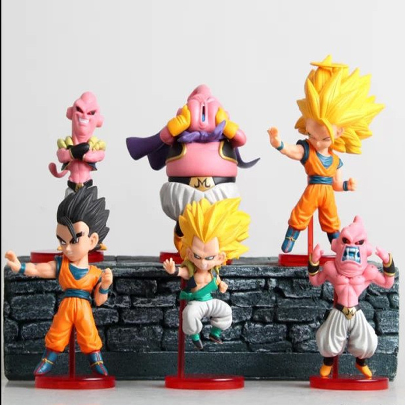 8-10cm PVC Dragon Ball Action Figure Kakarotto Majin Buu Gotenks Son Gohan Car Furnishing Articles Model Holiday Gifts Ornament