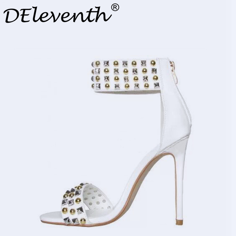 DEleventh Open Toe Rhinestone Design High Heel Sandals Rivet Zipper Ankle Wrap Gladiator Women Sandals Apricot Black White 35-40
