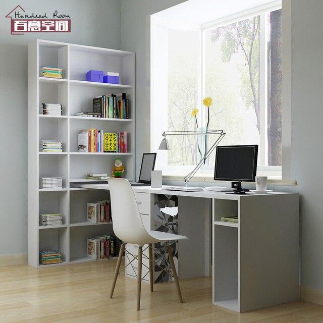 Custom Home Studie Raum Mit Regal Bücherregal Schreibtisch Lange