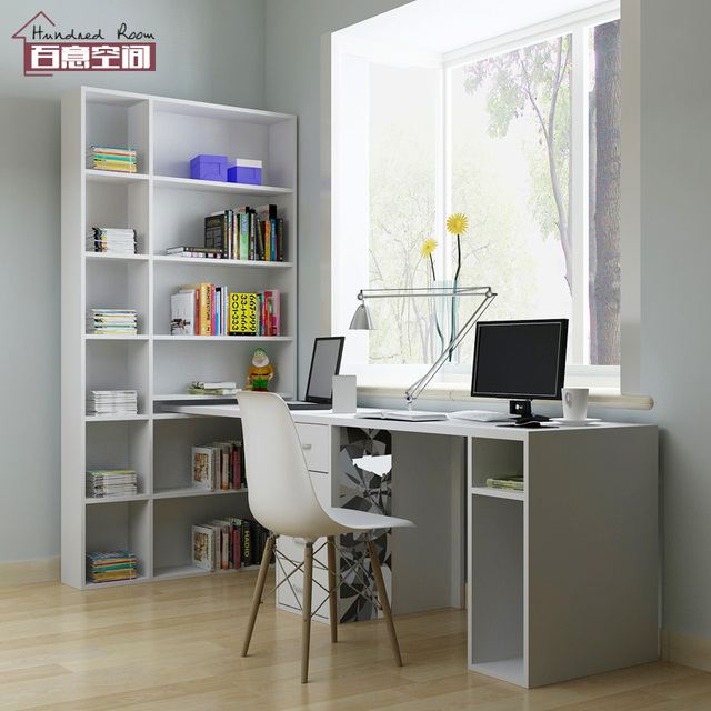 Captivating Custom Home Study Space With Shelf Bookcase Desk Office Long Double Desk  Desktop PC Table