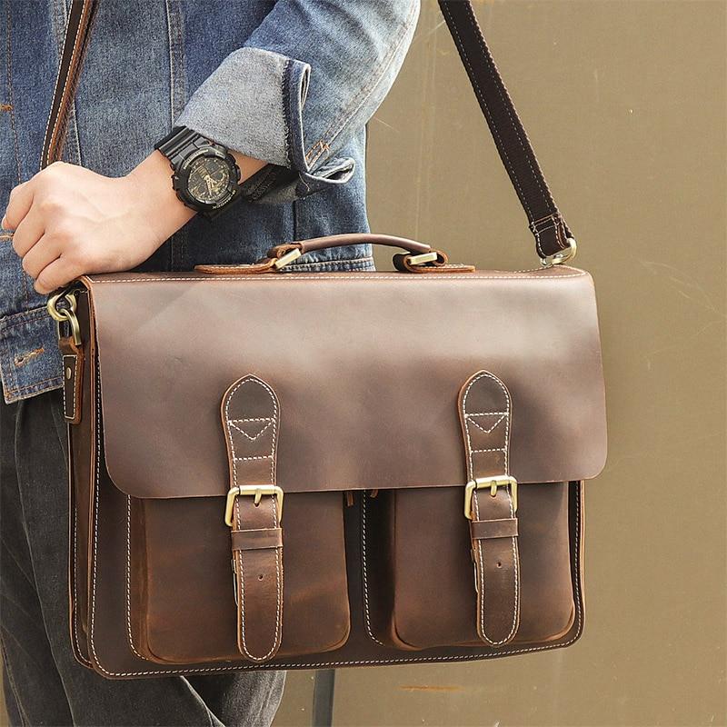 aca03ecc3ff3 J.M.D Vintage Crazy Horse Leather Laptop Bag For Man Briefcases ...