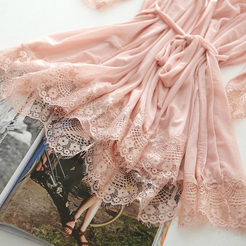 Women Lace Nightgowns Sleepwear Pyjamas Set Summer Night Dress Nightwear Sexy Lingerie Bathrobe Female Nightdress Home Clothes 6