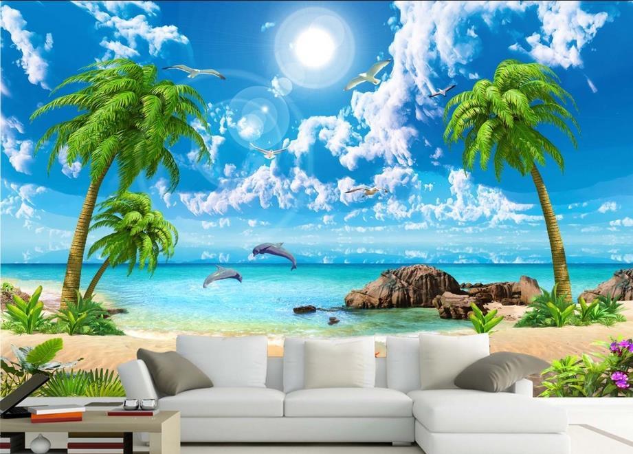 3d wall murals wallpaper custom 3d photo sea coconut beach for Beach wall mural cheap