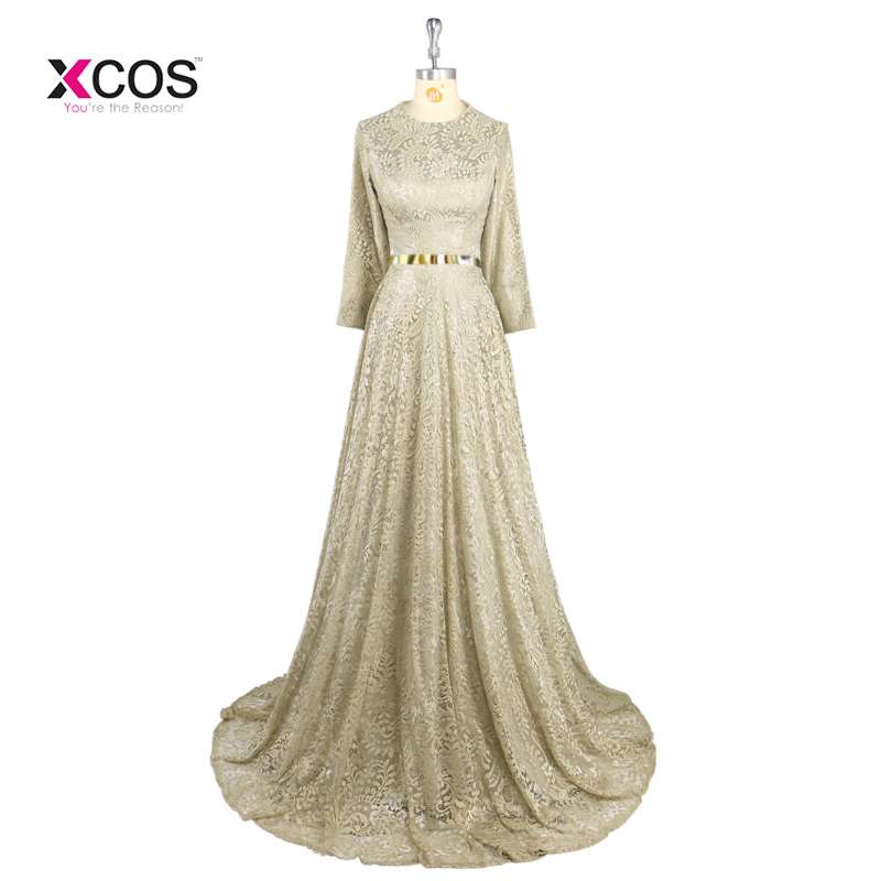 Real Photo Green Pink Lace Muslim Evening Dresses Women Long Sleeves ...
