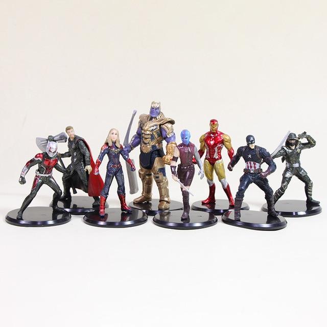 8-10 centímetros Infinito Guerra de Super-heróis Os Vingadores Capitão América homem Aranha homem de ferro Hulk Thanos Figura de Ação DO PVC brinquedo
