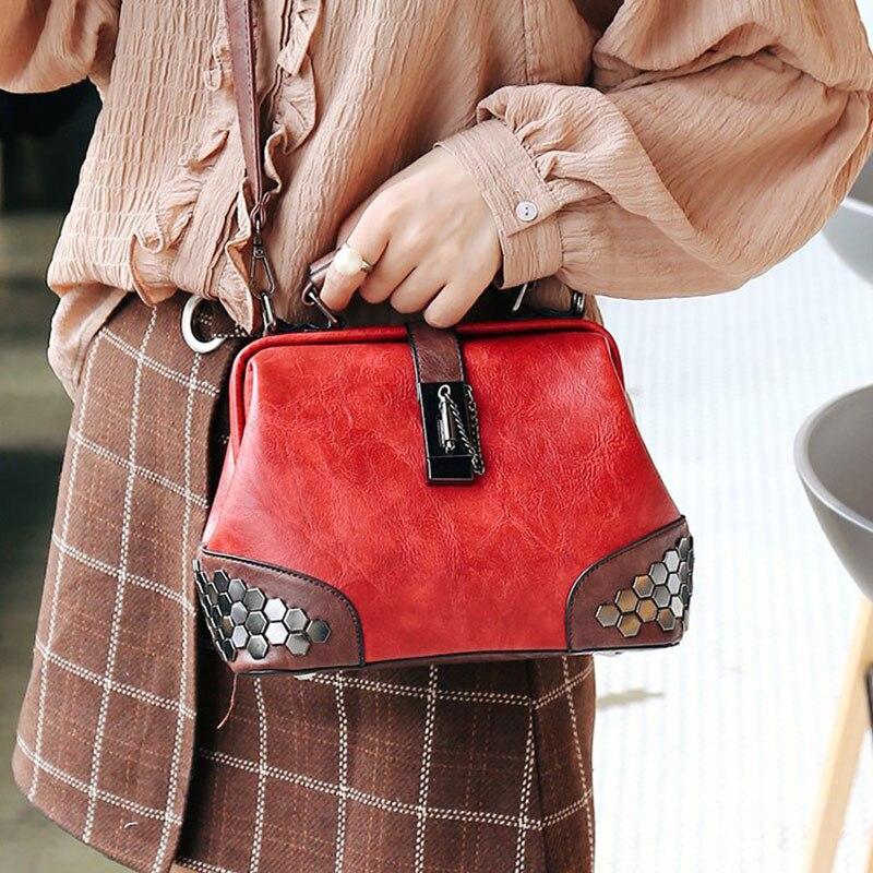 Bags For Women Shoulder Bag Female Vintage Women Leather Handbag Lady Small Crossbody Bags Rivet Doctor Bag