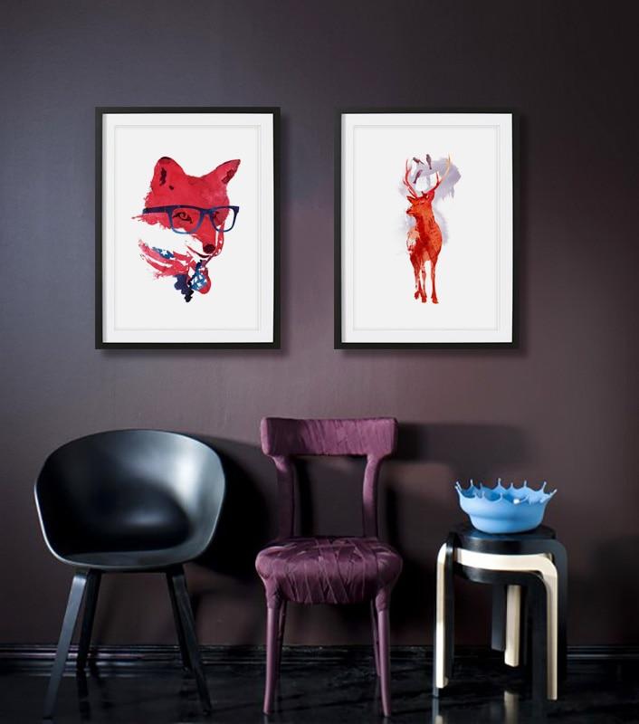 Lindo acuarela nórdica animal rojo zorro ciervo pájaro diy pinturas - Decoración del hogar