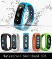 Impermeable Bluetooth Pulsera Inteligente E02 rastreador de fitness Deporte Salud Pulsera Smartband Reloj Para IOS Android Smartphone