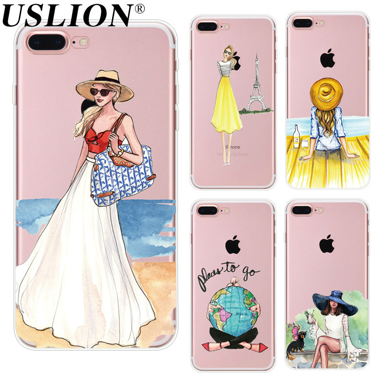 For Apple iPhone 7 6 6s 5 5s SE Plus Phone Cases Cute Transparent Beautiful Travel Girl Soft TPU Phone Back Cover Capa Coque