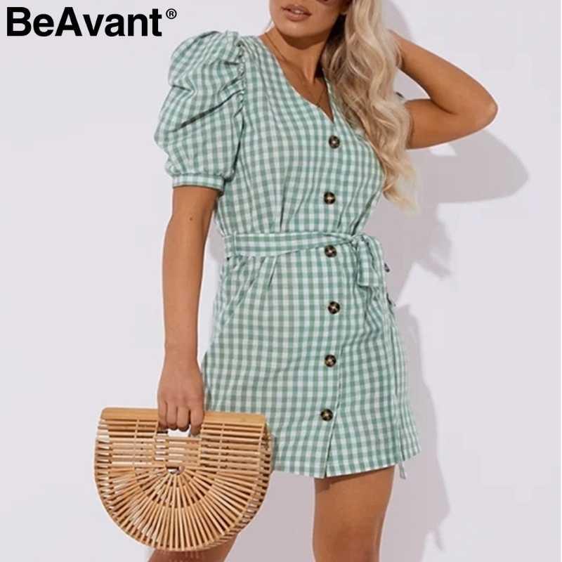 BeAvant V шеи клетчатое летнее платье для женщин короткий рукав кнопка пояс женские короткие платья Повседневная Уличная женская одежда vestidos