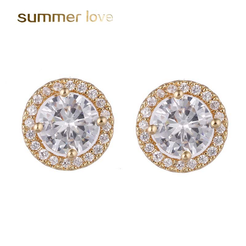 Top Quality Hearts & Arrows Zircon Stud Earrings CZ Stone Round Earrings Gold/Silver for ...