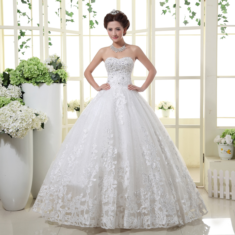 Wedding Dress 2015 Hot Sell Bridal Sexy Strapless Crystal