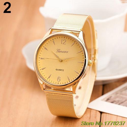 Watch Women's Geneva Gold Tone Mesh Band Round Dial Analog Quartz Wrist Watch Sale 4PEE