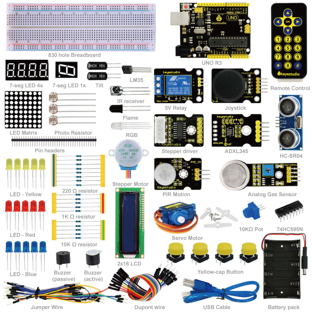 Free shipping !New Keyestudio Advanced Starter Learning Kit for Arduino with UNO R3 + PDF