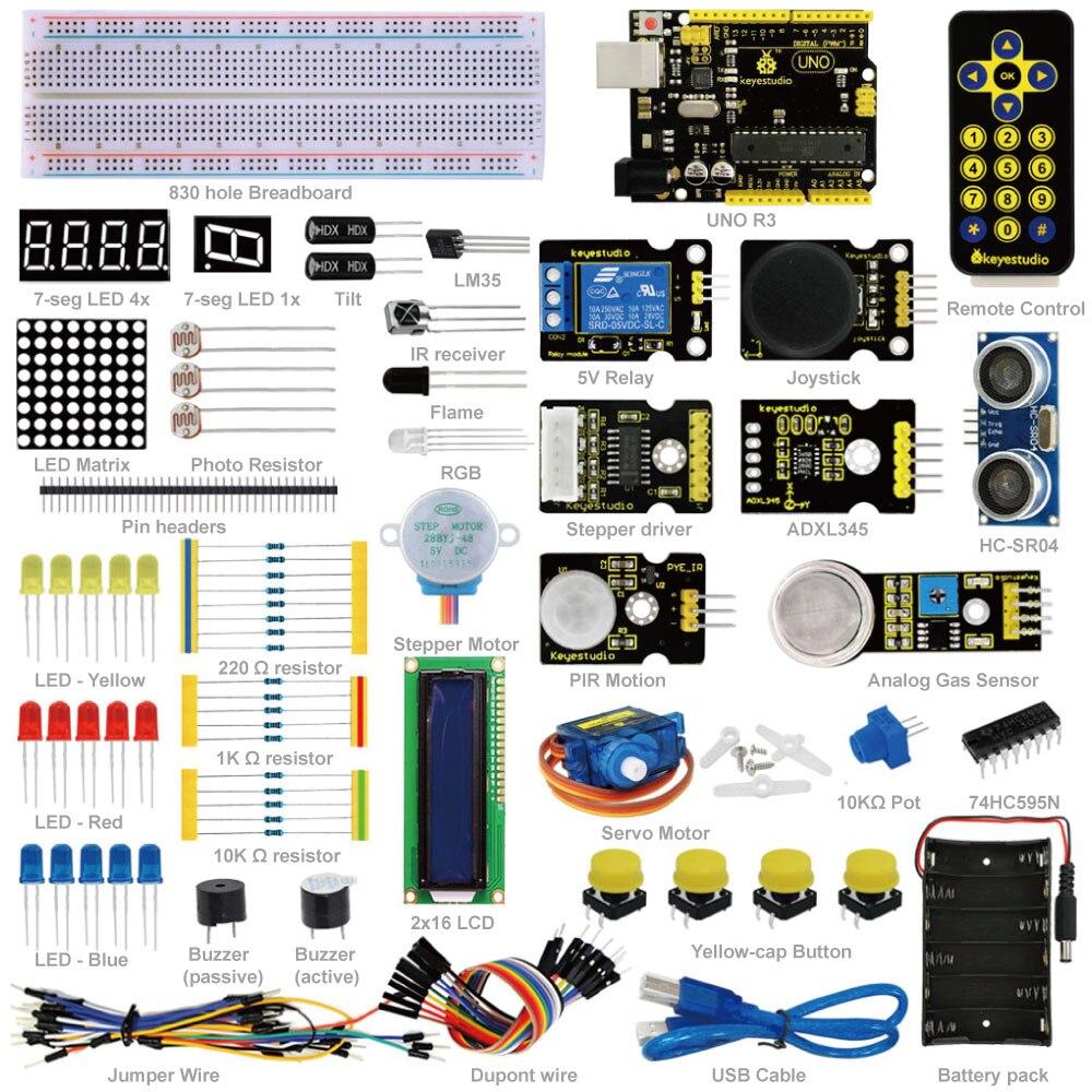Frete Grátis! Novo Keyestudio Avançado Starter Aprendizagem Kit Para Arduino Projeto De Educação Com Uno R3 + Pdf