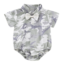 0-18 monthes Gentleman Shirt with bow Baby Rompers Children Woven Fabric Short Sleeve Kid's Camouflage Jumpsuits Newborn Clothes