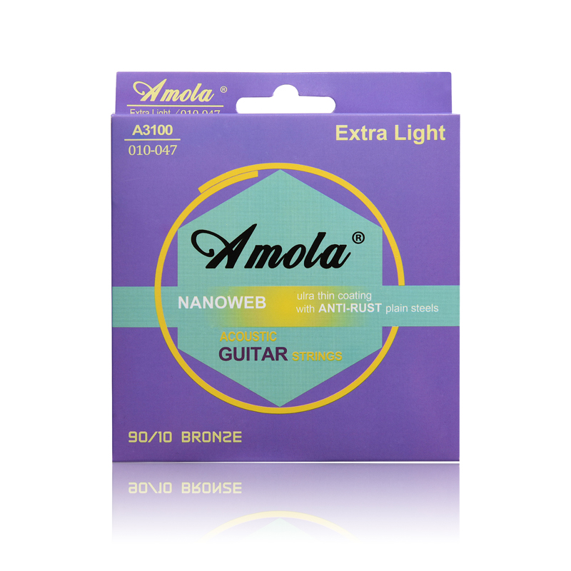 Acoustic Guitar Strings Steels Amola A3100 010-047 Phosphor Bronze Coating Acoustic Wound Guitar Strings Ultra Thin