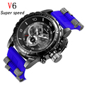 V6 Fashion Men Top Brand Luxury Famous Casual Wrist Watch Male Clock Rubber Strap sports military Quartz-watch Relogio Masculino