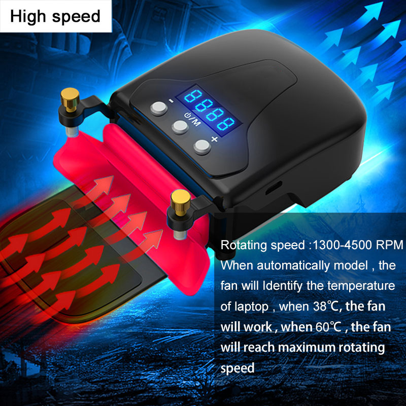 Сильный ноутбук охлаждения вакуумный вентилятор внешний USB Silent Ice Тетрадь кулер цифровой Дисплей Регулируемая Смарт модель охладитель VS Pad