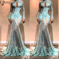 Long Sleeves Mermaid Prom Dresses 2019 High Neck See Through Lace Formal Evening Dress Robe de soiree Celebrity Gowns Custom