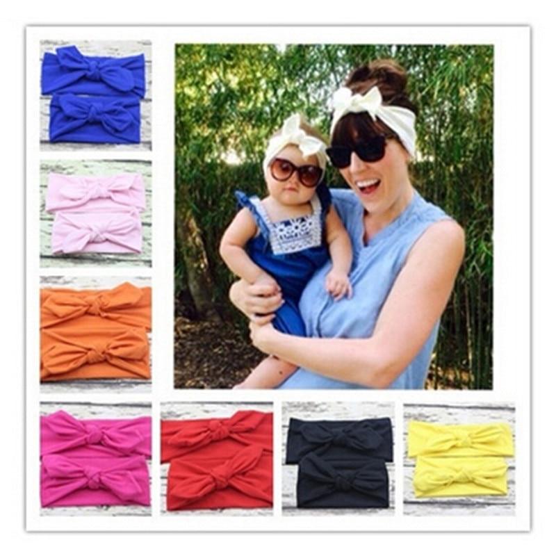 2pcs/pair DIY Mom Girl Rabbit Ears Headband Plaid Bow Hairband Turban Knot Headwrap Hair Band Accessories HO880507