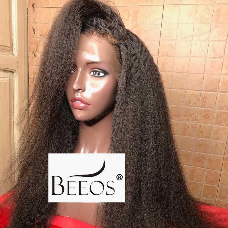 Beeos 360 кудрявые прямые парики из натуральных волос на кружеве перуанские прямые волосы 250 плотность предварительно накладка из волос линия натуральный черный парик
