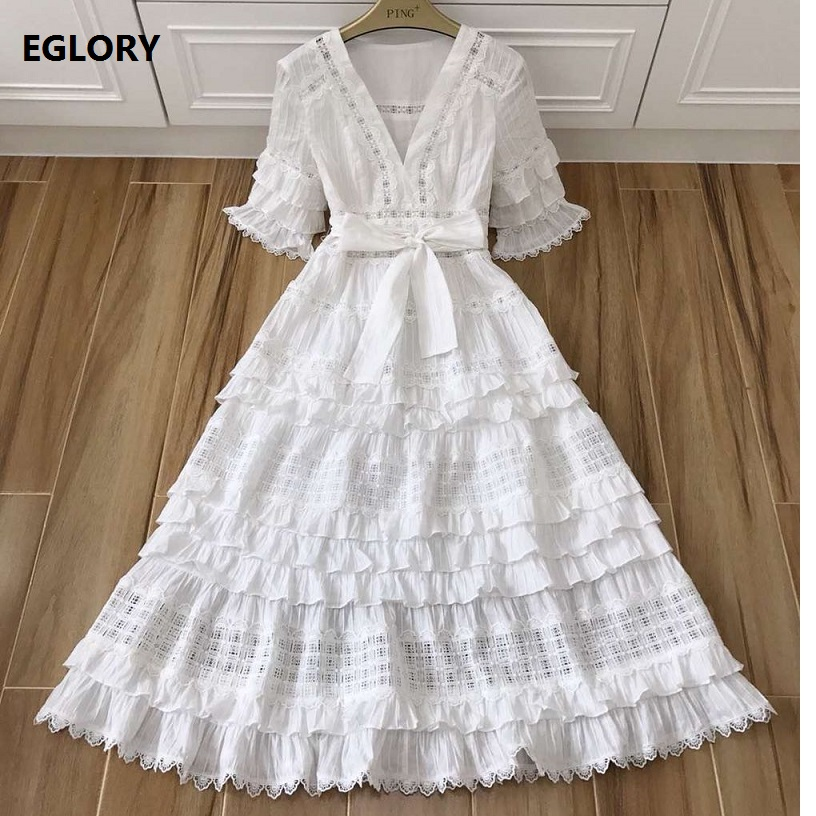 Sexy Deep V-Neck Party Evening 2018 Fashion Style Women Hollow Out Embroidery Half Sleeve Mid Calf Length Big Swing Dress <font><b>Summer</b></font>