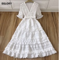 Sexy Deep V Neck Party Evening 2018 Fashion Style Women Hollow Out Embroidery Half Sleeve Mid Calf Length Big Swing Dress Summer