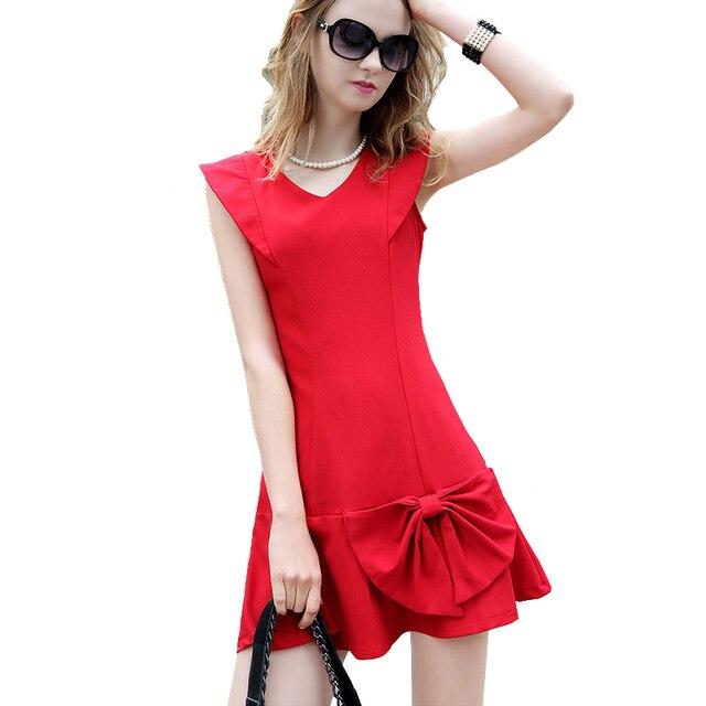 New Little Red Dresses Women Summer Big Bowknot Slim Short Mini Dresses Ladies Wind V Neck Casual Cute Dress vestido vermelho