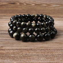 Linxiang Fashion Jewelry 4/6/8/10/12 MM Obsidian Bracelet Suits Charming Amulets for Men and Women