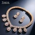 ZAKOL Geométrico de Lujo Diamante de LA CZ de Calidad Superior Plateó Sistemas de La Joyería de Las Mujeres Collar y Pendientes Establecidas Para la Participación FSSP231