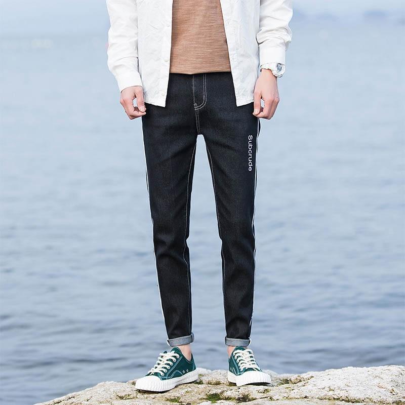 Jeans Men Black High Elasticity Denim Pants Casual Trousers Thick Slim Leg Skinny Pockets Designer Male Clothes for Men