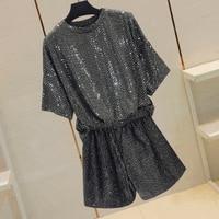 Summer Loose Tshirt Oversize Tops Women 2019 New Fashion Sequins Bat Sleeve Hip Hop T shirt Female Casual Tee Bling Shirts