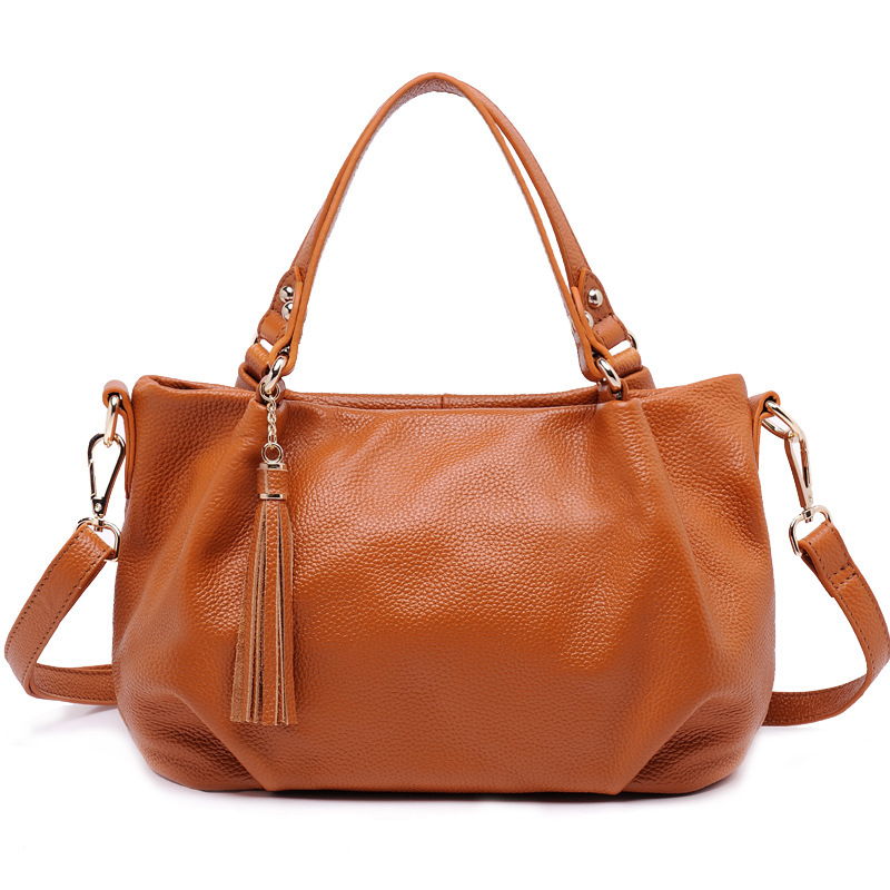 New Brand Genuine Leather Tote Bag Female Fashion Cow Leather Handbags Women Tassel Bag Large Shoulder Bag 2018 new women fashion genuine cow leather luxury ol style handbags female brand shoulder bag casual tote cross body bag