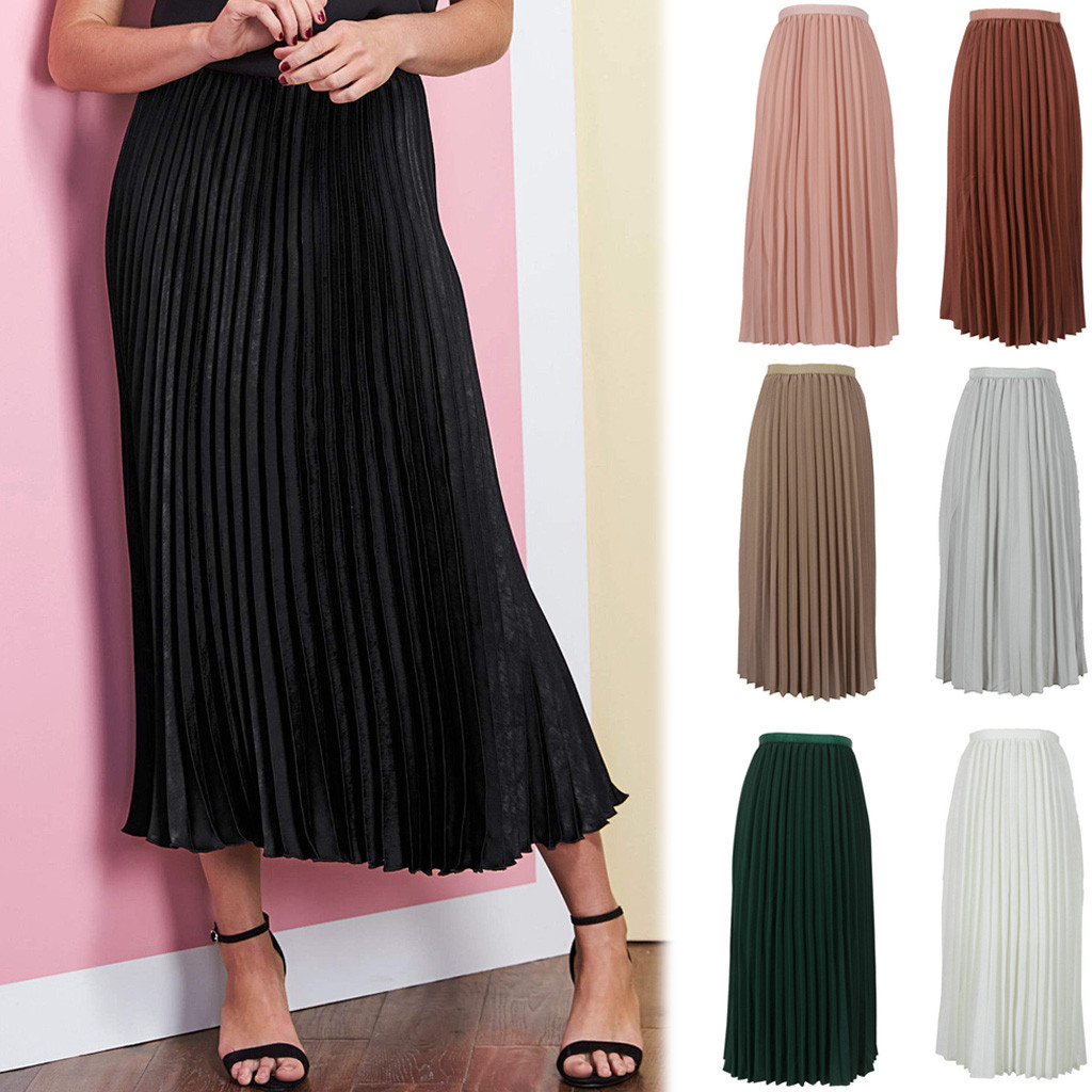 2020 Newly Womens Summer Solid Casual Color Elegant Chiffon Pleated Skirt Navy Black Elasticated Waist  Beach A-Line Skirt 50