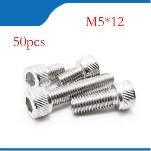 M5 screws m5 bolt 50pcs/Lot Metric Thread DIN912 M5x12 mm M5*12 mm 304 Stainless Steel Hex Socket Head Cap Screw Bolts 20pcs metric m12 304 stainless steel hex head dome cap protection cover nuts fasteners