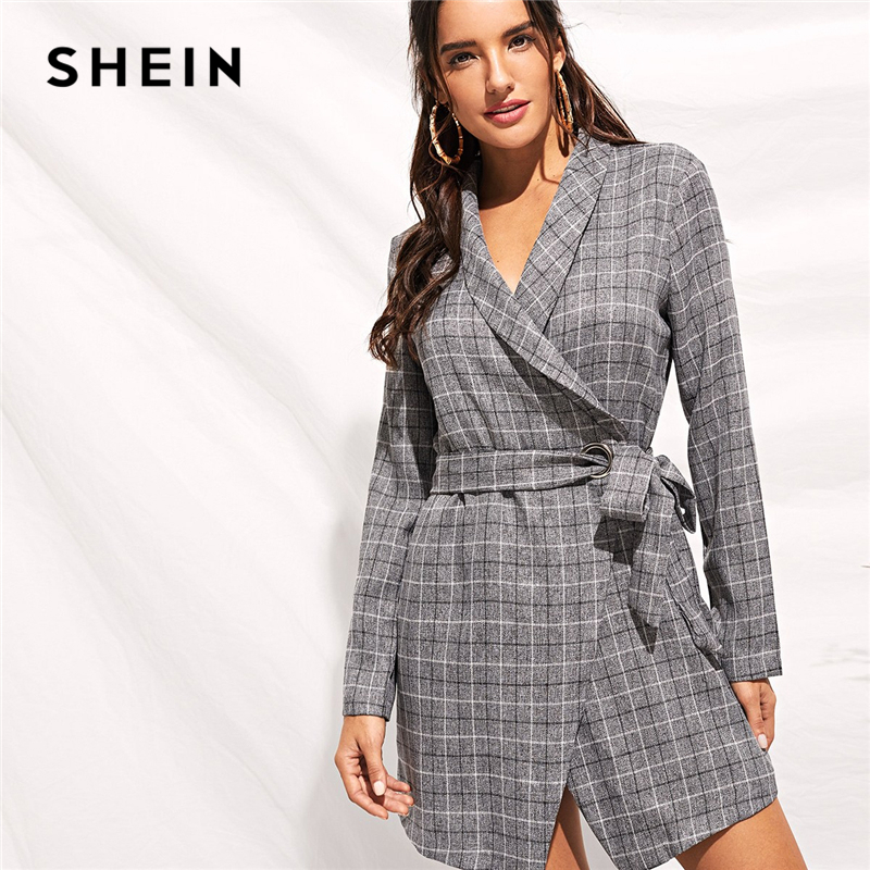 SHEIN Grey Shawl Collar Self Tie Wrap Plaid Blazer 180920705
