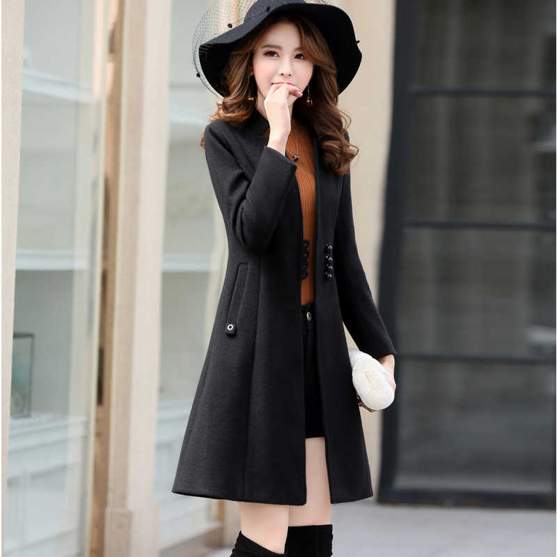 Outerwear Overcoat Autumn Jacket Casual Women New Fashion Long Woolen Coat Single Breasted Slim Type Female Winter Wool Coats