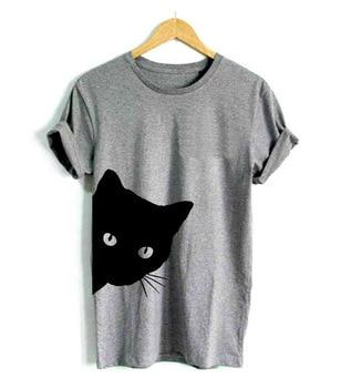 Plus Size S-2XL New Women 100% Cotton Short Sleeves T-shirt Kitten Print Round Collar Pullover Fresh Sweet Slim Female T-Shirts
