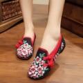 Персик старый Пекин вышивка Dichotomanthes конце синглов обувь повседневная Китайский стиль национальные Старые Peiking Квадратных танцевальной обуви