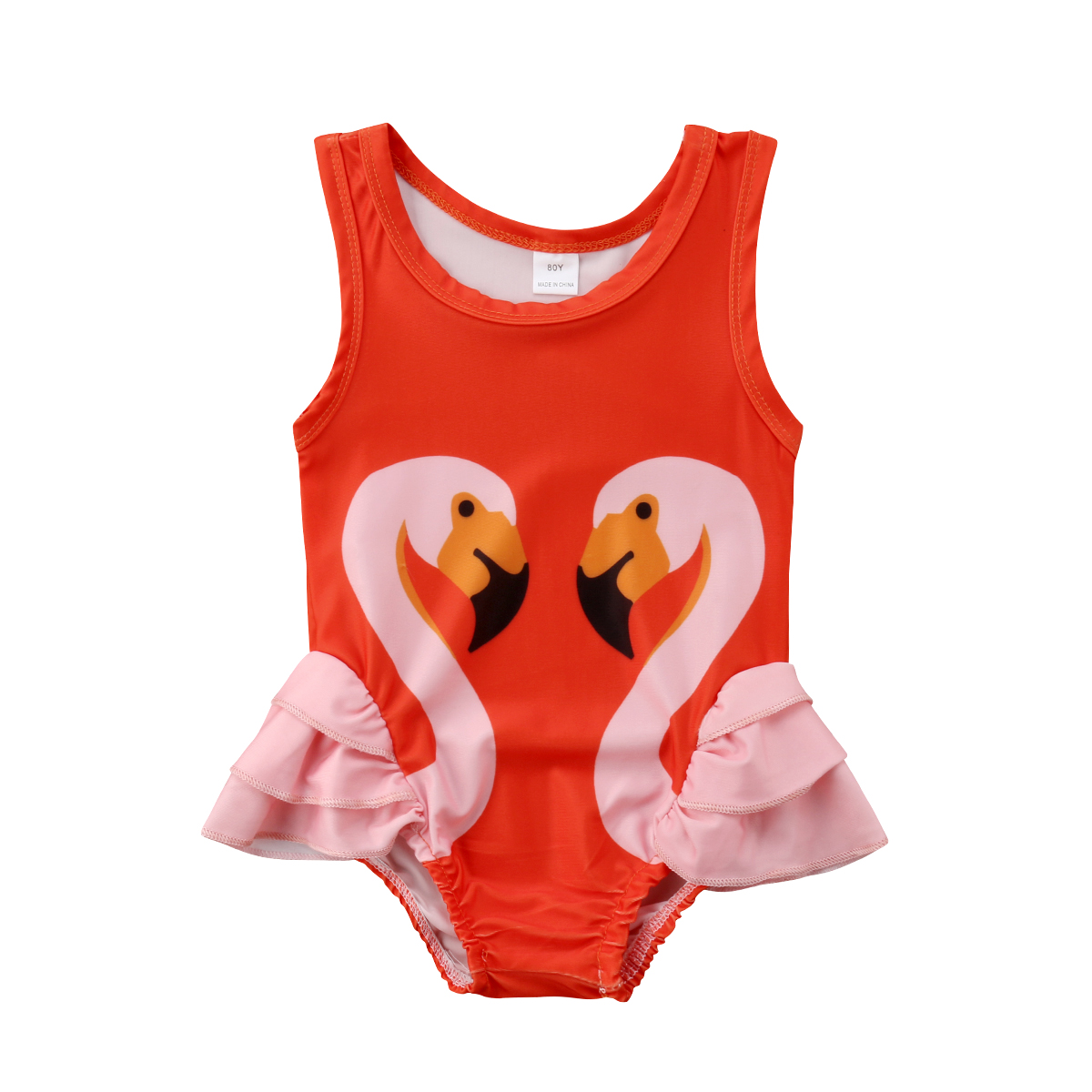 Baby Girl Kids Swan Pattern Romper Pink Orange Swimming suit Jumpsuit Badysuit Clothes