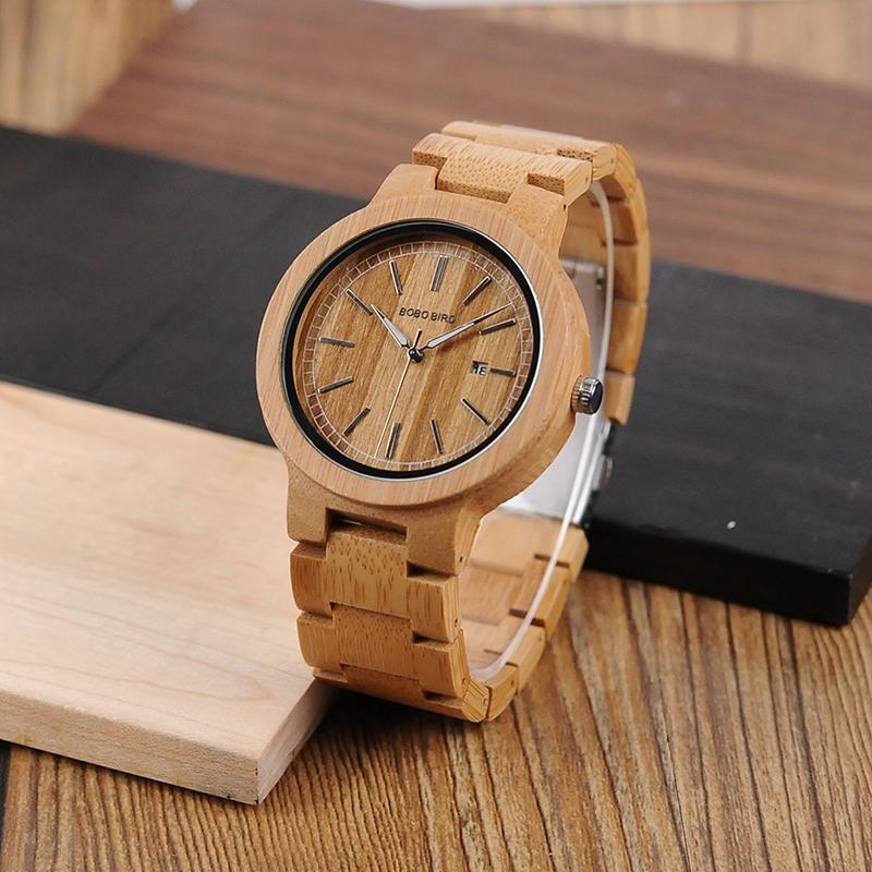 6d91a5f8497 BOBO BIRD Original Wood Handmade Quartz Watch J-P23 with Wooden Band Auto  Date showing relogio masculino