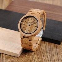 BOBO BIRD Original Wood Handmade Quartz Watch J P23 With Wooden Band Auto Date Showing Relogio