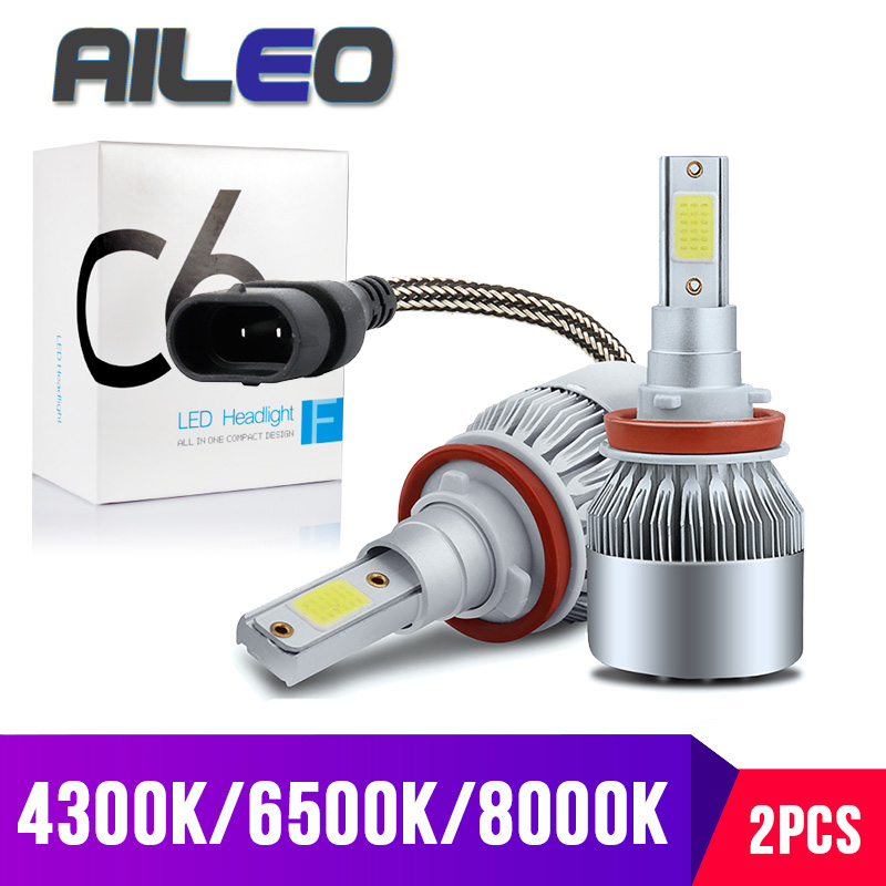 AILEO 7 Color Choice High Power Fan Cooling H11 LED H8 H9 HB3 HB4 9005 9006 H1 H3 Car Fog Lamp 3000K 4300K 8000K 12V 60W 8000LM
