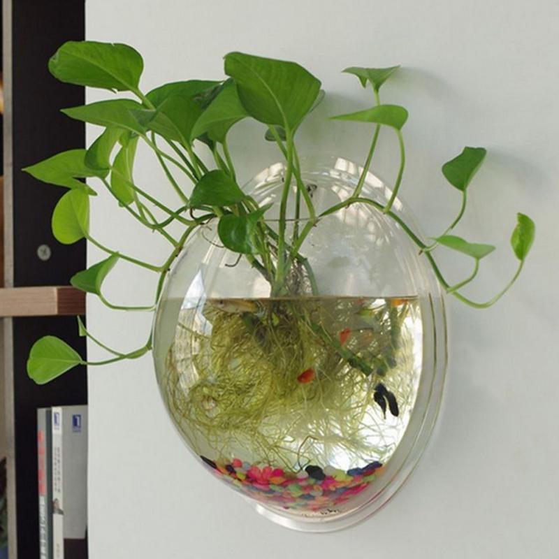 Creative Acrylic Hanging Wall Mount Fish Tank Bowl Vase Aquarium