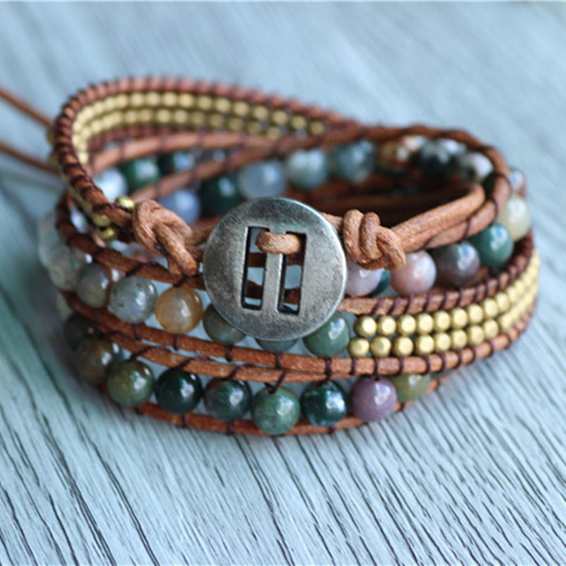 Triple piedra india en cuero natural Pulseras de piedras para la joyería hecha a mano joyería al por mayor para las pulseras tejidas