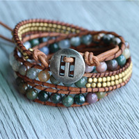 Triple Vegan Mix Stone Antiqued Brass Natural Leather Wrap Bracelet For Mens Jewelry 2014 Wholesale 5pcs